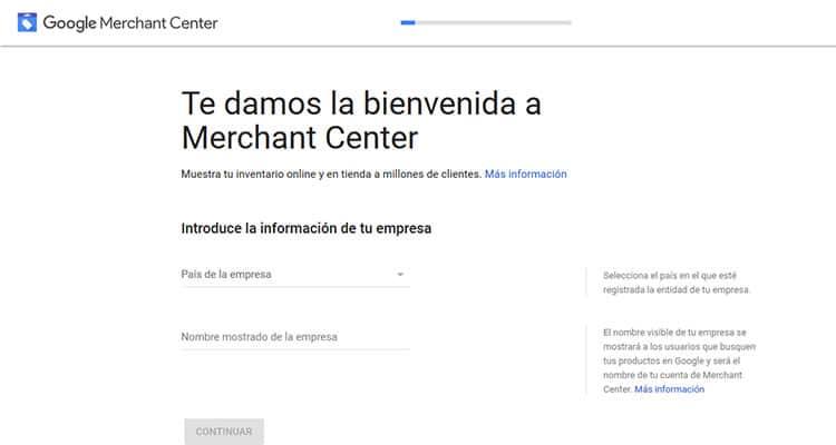Empresa y país de Venta Merchant Center